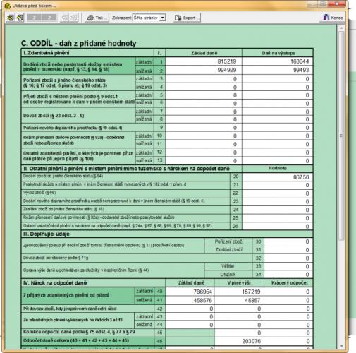 Účetnictví - tisk DPH